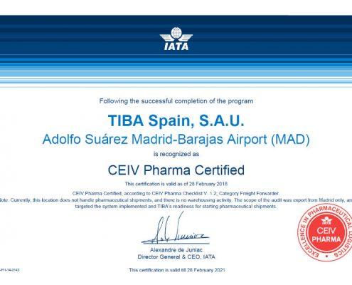 TIBA Certificado CEIV Pharma de la IATA